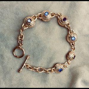 Chunky Gold tone Bracelet w/Deep Pink & Lavender